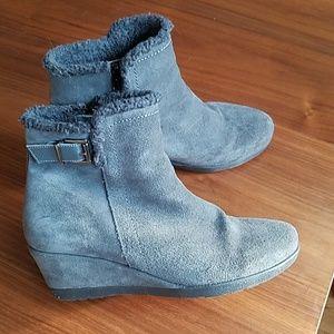 Anthro gray fleece lined wedge booties
